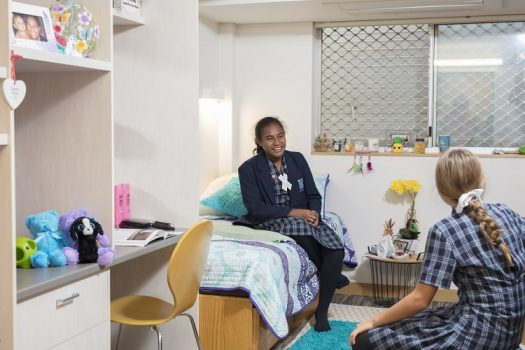 Ipswich Girls' Grammar boarders in their room at the School's on-site boarding facility, Cribb House.