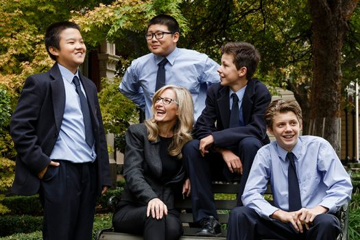 Boarding students with teacher at Melbourne Grammar School