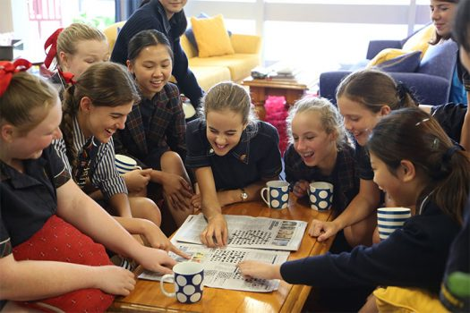 St Catherine's school Sydney boarders in the boarding school playing a game